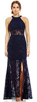 Morgan & Co. Sequin-Embellished Lace Illusion Insets Long Dress