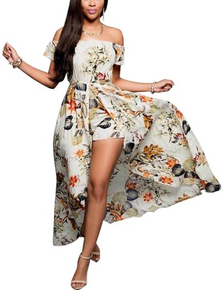 BIUBIU Women's Boho Floral Off Shoulder Romper Maxi Dress Retro Party Holiday Dresses Navy UK 6-8