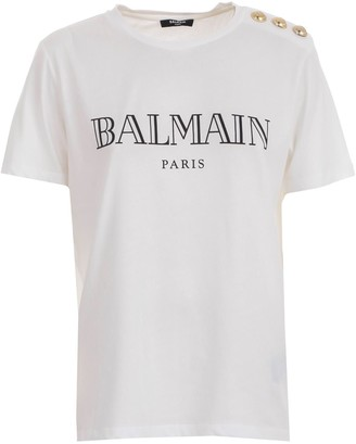 Balmain T-shirt S/s 3 Buttons On Shoulder Vintage Logo