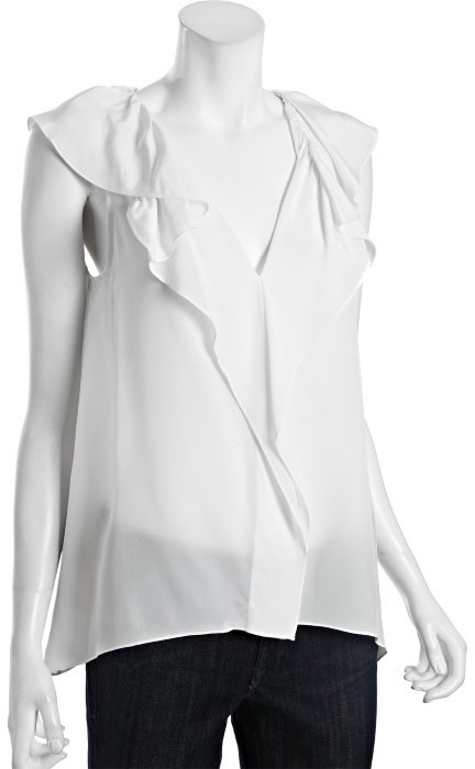 BCBGMAXAZRIA off white silk 'Drea' ruffle neck blouse
