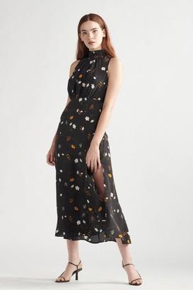 Thakoon Silk Floral Maxi Dress Black Floral