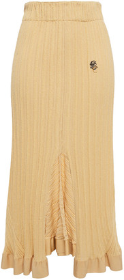 Chloé Ruffle-trimmed Embroidered Ribbed Jacquard-knit Midi Skirt