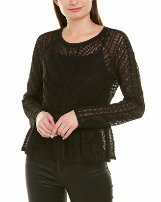 BCBGMAXAZRIA Women's Long Sleeve Lace Peplum Top
