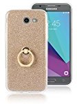 Moonmini Samsung Galaxy J3 (2017). Case Cover Sparkling Slim Fit Soft TPU Back Case Cover with Ring Grip Stand Holder 2 in 1 Hybrid Glitter Bling Bling TPU phone Case Cover (Golden)
