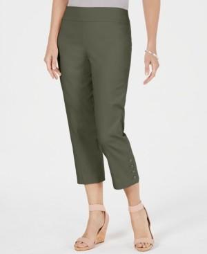 JM Collection Petite Button-Hem Capri Pants, Created for Macy's