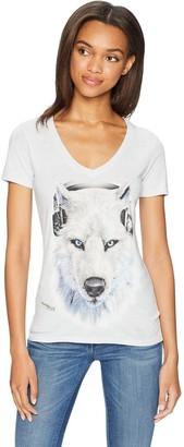 The Mountain Women's White Wolf DJ Tri-Blend V-Neck T-Shirt