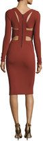 Narciso Rodriguez Long-Sleeve Cutout-Back Dress, Burnt Sienna