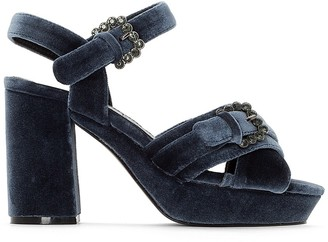 La Redoute Collections Velvet High Heel Sandals with Diamante Buckles