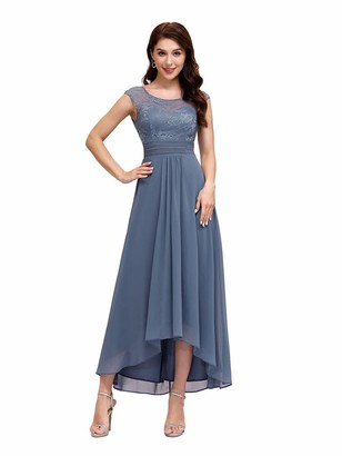 Ever Pretty Ever-Pretty Women's Elegant Round Neck Sleeveless A-Line High-Low Chiffon Lace Evening Gowns Dessses Navy Blue 12UK