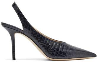 Jimmy Choo Ivy 85 Crocodile-effect Leather Slingback Pumps - Womens - Navy