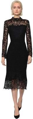 Ermanno Scervino Long Sleeve Wool Blend Lurex Midi Dress