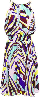 Emilio Pucci Open-back Printed Voile Mini Dress