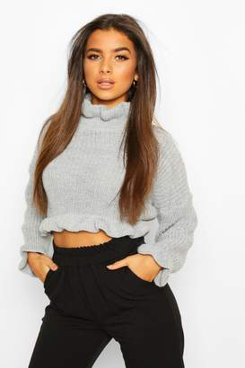 boohoo Ruffle Cropped Knitted Jumper