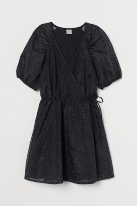 H&M Puff-sleeved Wrap Dress