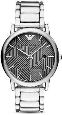 Emporio Armani Geo-Pattern Dial Dress Watch, 43mm
