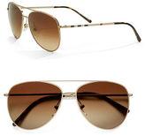 Burberry House Check Foil 57mm Aviator Sunglasses