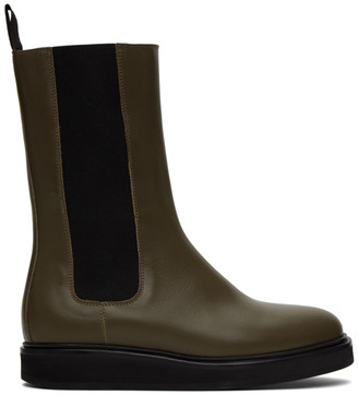 LEGRES Khaki Mid-Calf Chelsea Boots