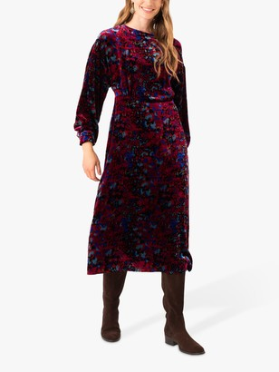 Brora Velvet Floral Print Midi Dress, Claret/Sapphire