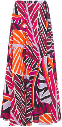 Emilio Pucci Gathered Printed Woven Maxi Skirt