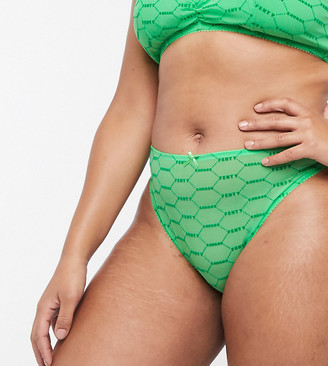 Savage x Fenty logo mesh cut-out brazilian knickers in green