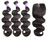 Freesia Hair Brazilian Virgin Hair 3 Bundles With Closure 100% Unprocessed Human Hair Weave With Lace Closure Natural Color 4x4 Lace Closure With Bundles (18''20''22+14''middle part closure)