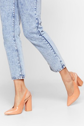 Nasty Gal Womens Slingback for Good Faux Leather Croc Heels - Nude