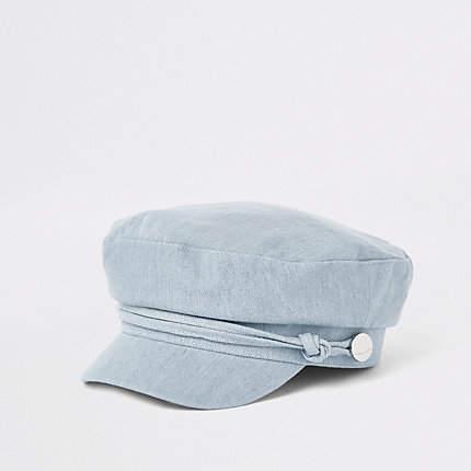 River Island Womens Blue denim baker boy hat