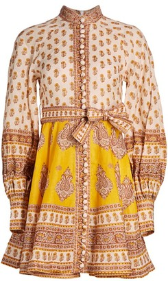 Zimmermann Bonita Paisley Linen Mini Dress