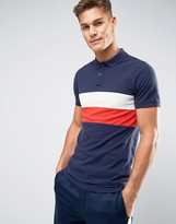 Tommy Hilfiger Pique Polo Chest Stripe Regular Fit in Navy