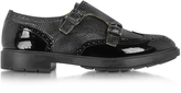 Fratelli Rossetti Black Grained and Patent Leather Women's Wingtip Monk Strap Shoe