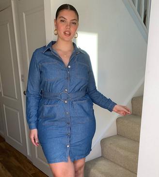 Simply Be belted denim shirt dress