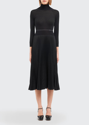 Prada Crepe de Chine Turtleneck Pleated Dress