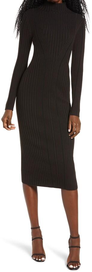French Connection Jolie Rib Long Sleeve Knit Midi Dress