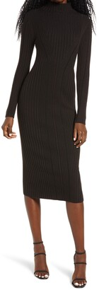 French Connection Jolie Rib Long Sleeve Knit Midi Dress