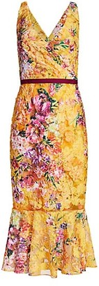 Marchesa Notte Soutache Floral Mid-Length Dress