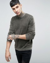 Asos Crew Neck Sweater in Acid Wash Black Cotton