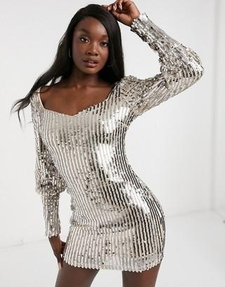 I SAW IT FIRST metallic sequin puff-sleeved mini dress in silver