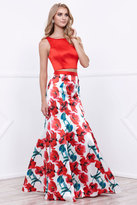 Nox Anabel - Sleeveless Red Crop Top and Floral Printed Mermaid Skirt Prom Dress 8313