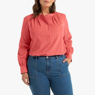 La Redoute Collections Plus Gathered Crew Neck Blouse with Long Sleeves