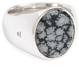 Women's Tom Wood Snowflake Obsidian Oval Signet Ring