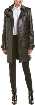 Saint Laurent Belted Leather Trench Coat
