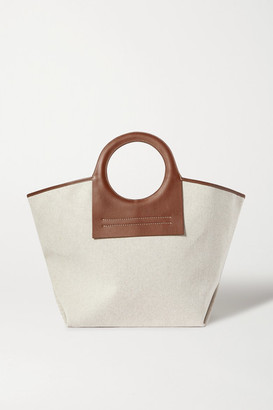 Hereu Net Sustain Cala Large Leather-trimmed Canvas Tote - Beige