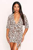 boohoo Leopard Print Ruched Front Plunge Dress