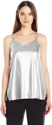 Halston Women's Sleeveless Double Strap Metallic Jersey Cami