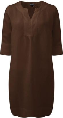 Nologo Chic Life Style Easy Linen Tunic Dress- Cocoa