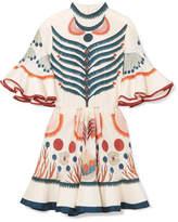 Chloé Ruffled Printed Silk Mini Dress - Ivory
