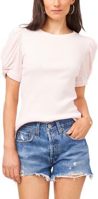 1 STATE Puff Sleeve Rib Knit T-Shirt