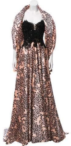 Mac Duggal Leopard Print Evening Dress