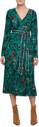 Diane von Furstenberg Amiya Pleated Crepe Midi Wrap Dress