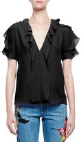 Alexander McQueen Short-Sleeve V-Neck Ruffle Blouse, Black